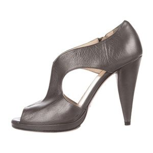 Prada Gunmetal Leather cutout booties